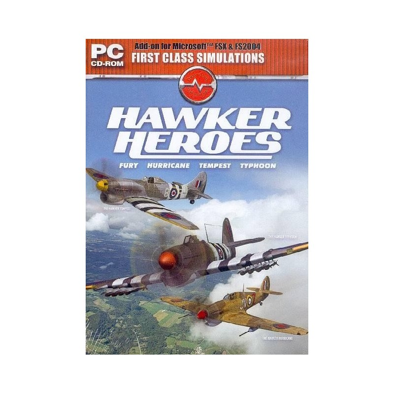 HAWKER HEROES  Fury-Hurricane-Tempest-Typhoon (PC CD-ROM for FS2004 & FSX)